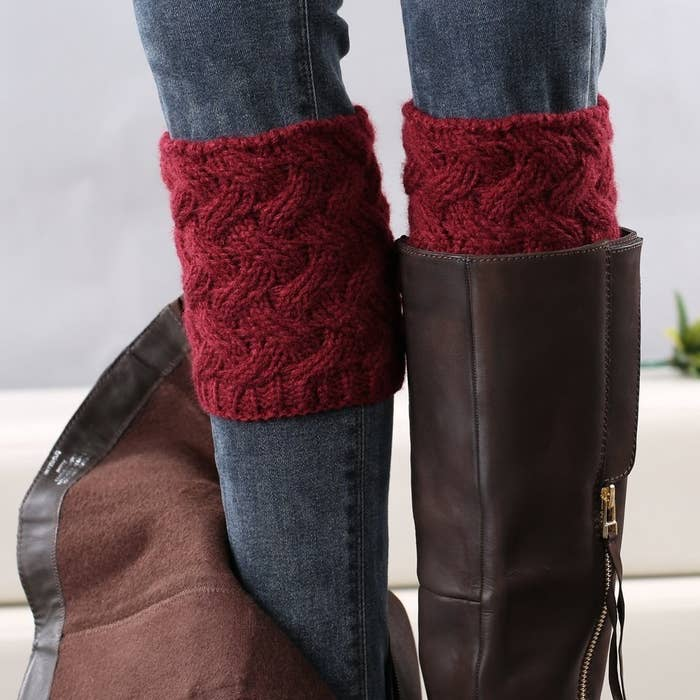 "Promising review: ""I ordered the gray cuffs and absolutely love them! They're especially handy for the boots I own that can't accommodate thicker socks. I have very skinny calves so they also help to fill out the top of my boots that sometimes don't hug my legs like I want them to. I was worried that these cuffs might not stay in place, but they were rock solid through a long day at work. I can wear these several times without washing, which makes them pretty hard to beat. I plan on ordering more colors now!"" —Hip ShopperGet it from Amazon for $6.99 (11 colors)."