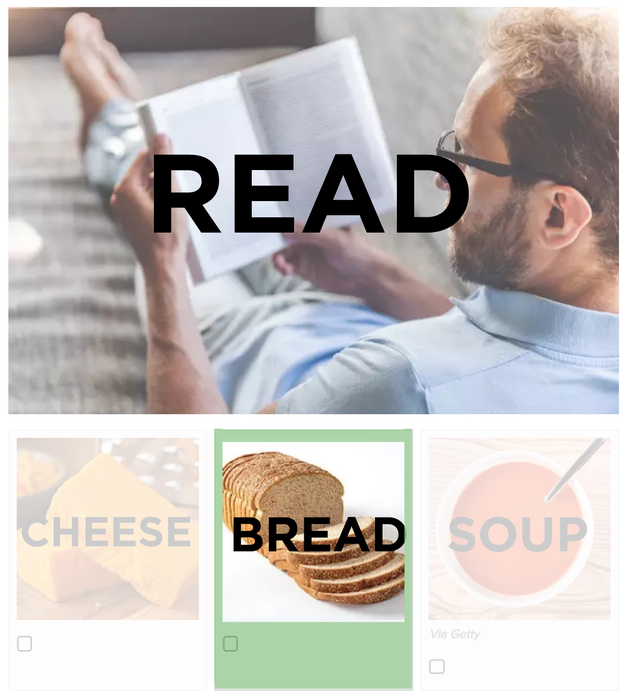 For each question below, you must choose the food that is one letter off from what's in the photo. Example: READ --> BREAD.