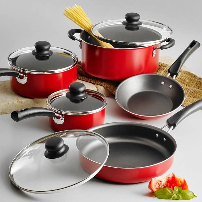 The set includes a sauté pan, deep sauté pan with lid, one-quart sauce pan with lid, two-quart sauce pan with lid, and a Dutch oven. They're all nonstick. Price: $22.61