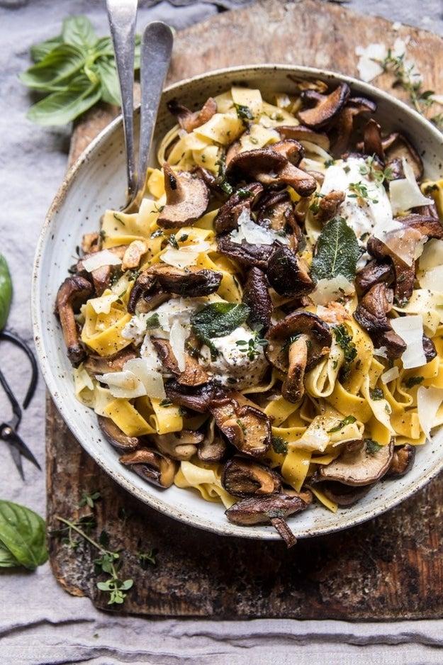 Herb Buttered Wild Mushroom Tagliatelle