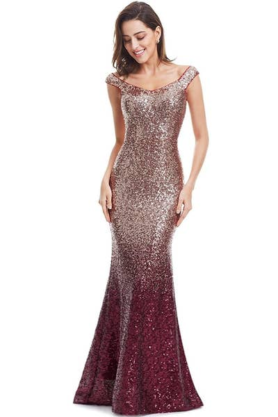 3fb8206a272f A sequin dress with a gradient design: champagne-inspired color on top, a  gorgeous pink hue on the bottom.