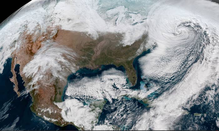 The powerful nor'easter is seen off the US East Coast on Thursday afternoon.