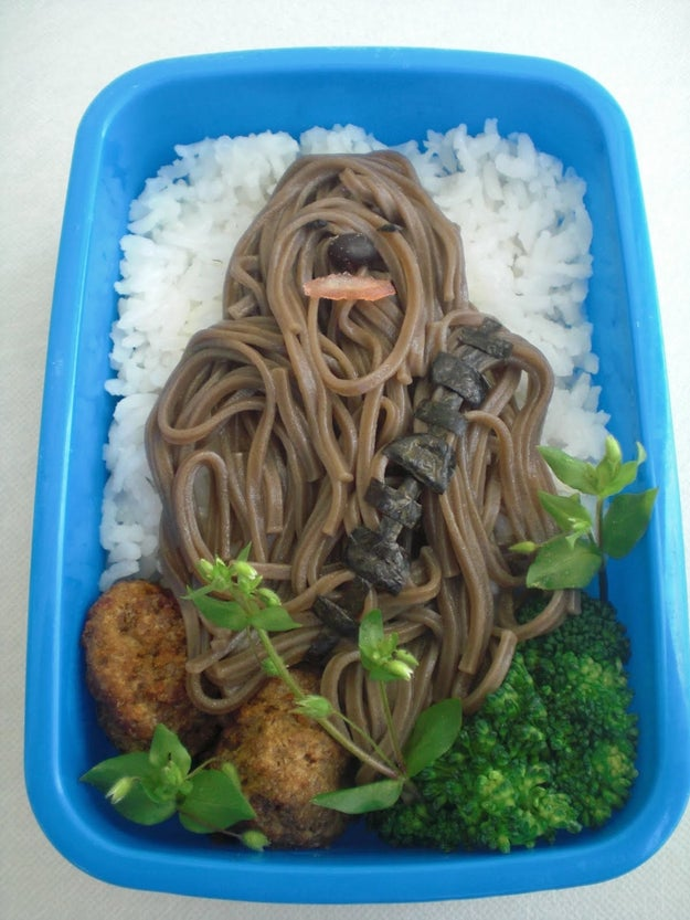 Soba noodles, rice, and a few veggies can make this unforgettable Chewbacca lunch.