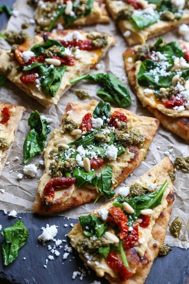 Hummus Flatbread With Sun-Dried Tomato and Pesto