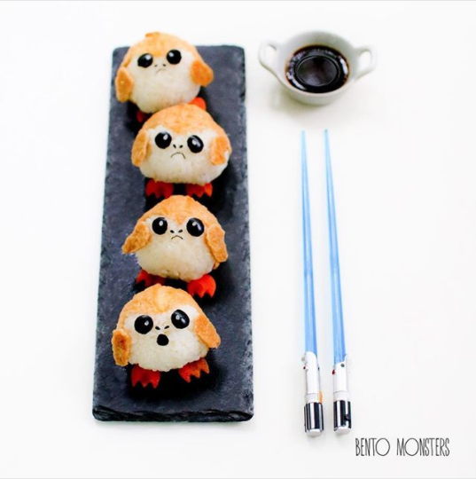 There's no recipe for this Porg version, unfortunately, but here's a recipe for traditional Inari sushi that will get you 90% of the way there.