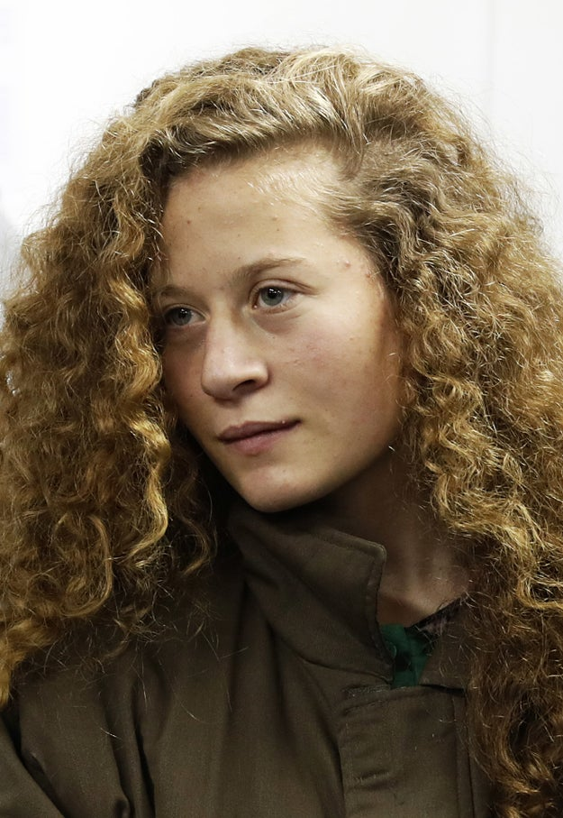 This is Ahed Tamimi. She's a 16-year-old Palestinian from the West Bank, and she's all over social media.