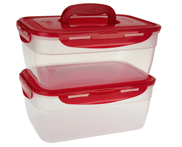 These nifty nestable containers with a pop-up handle that store easily and neatly.
