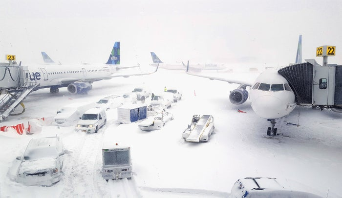 JetBlue airplanes wait at the gates outside Terminal 5 at John F. Kennedy International Airport on Jan. 4, in the New York City borough of Queens.