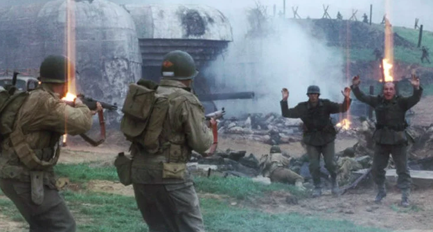 In Saving Private Ryan, the soldiers who are shot while attempting to surrender are Czech, not German.