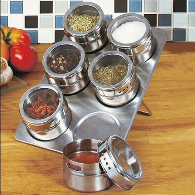 But if that's not your style, these magnetic spice jars are a bit more sleek.