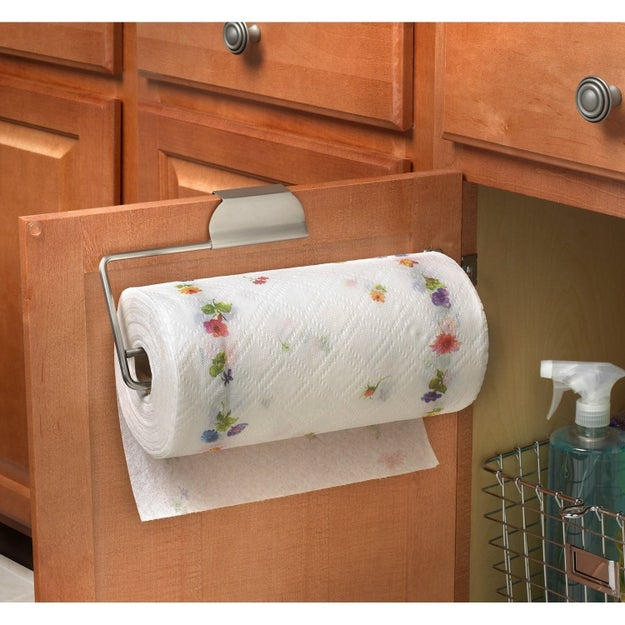 An over-the-cabinet paper towel holder, because you can never save enough counter space.