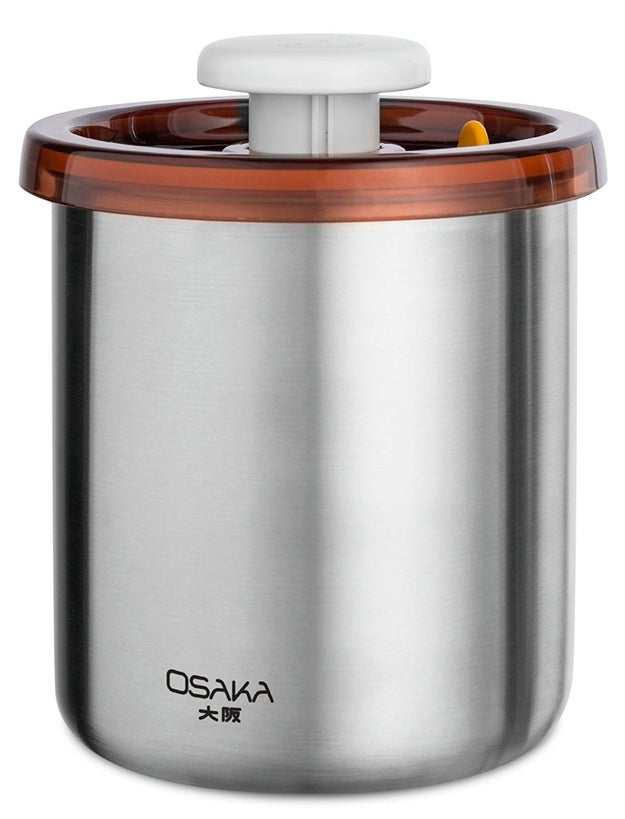 Don't forget a vacuum-sealed canister to keep your coffee beans nice and fresh.