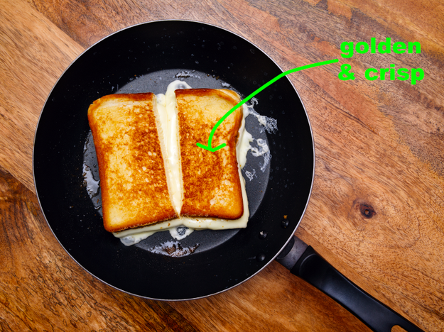For a golden crust, fry your grilled cheese in mayonnaise instead of butter.