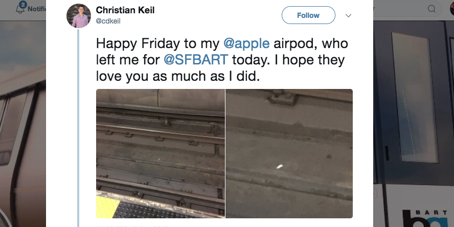 79f0f9ce74a This Guy Got The AirPod He Lost On The Tracks Back After He Tweeted About It