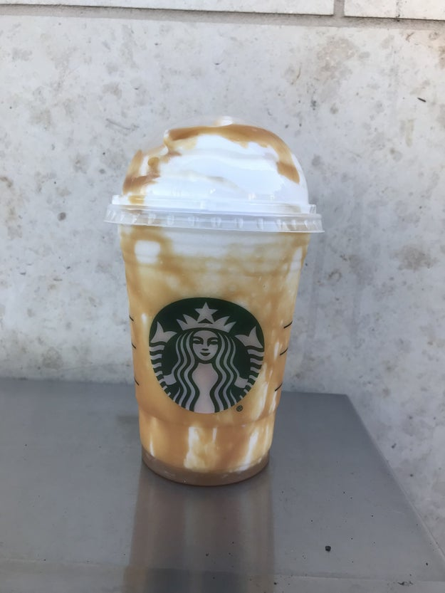 First, we tried the Butterbeer Frappuccino.