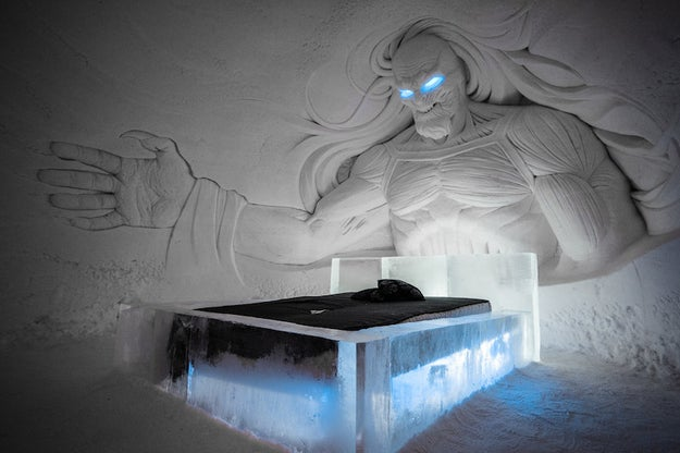 Lapland Hotels Snowvillage in Finland has teamed up with HBO Nordic to provide rooms and sculptures inspired by Game of Thrones. You can have a White Walker overlooking your bed...