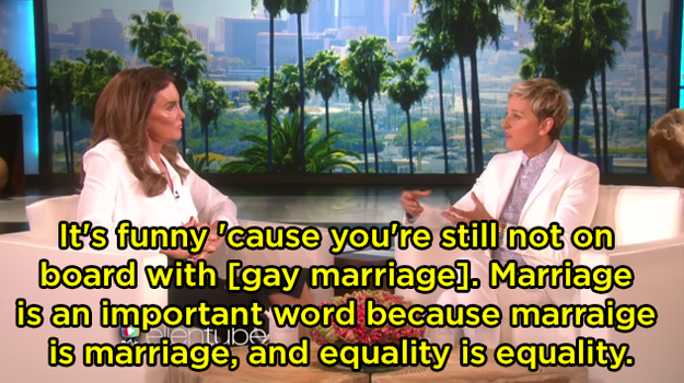 "When she schooled Caitlyn Jenner after she said seemed to not be ""on board"" with gay marriage:"