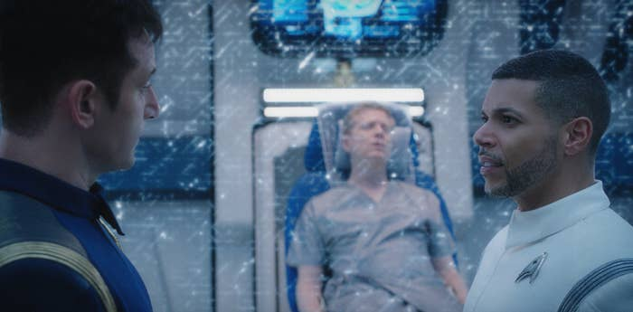 From left: Jason Isaacs, Anthony Rapp, and Cruz on Star Trek: Discovery.
