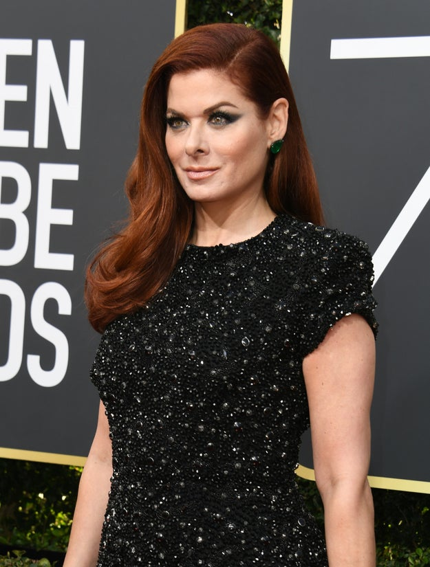 "Like many of tonight's nominees and guests, Debra Messing just arrived at the Golden Globe Awards in all black to support the Times Up initiative and the ""Me Too"" movement."