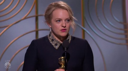 Moss used her acceptance speech to honor Atwood by reading a message from the author about female empowerment.