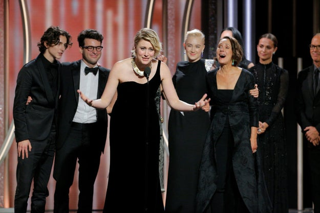 And he still got to go onstage when his other nominated film, Lady Bird, won for Best Picture (Musical or Comedy).