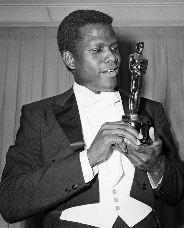 To begin her acceptance speech, Winfrey set the scene at the Oscars in 1964 when Sidney Poitier became the first black male actor to win an Academy Award.