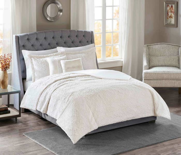 Get this faux fur bedding here.