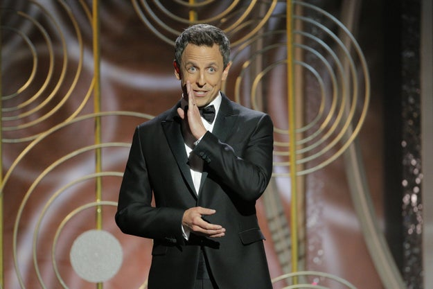 The night began with host Seth Meyers jokingly discouraging Oprah from running for president in his opening monologue.