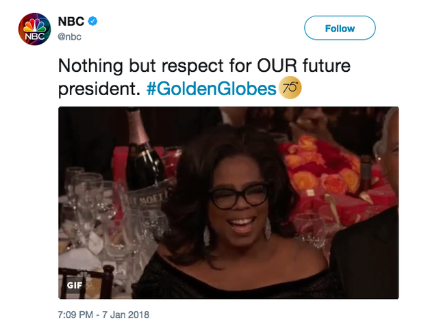 NBC published this tweet during the show:
