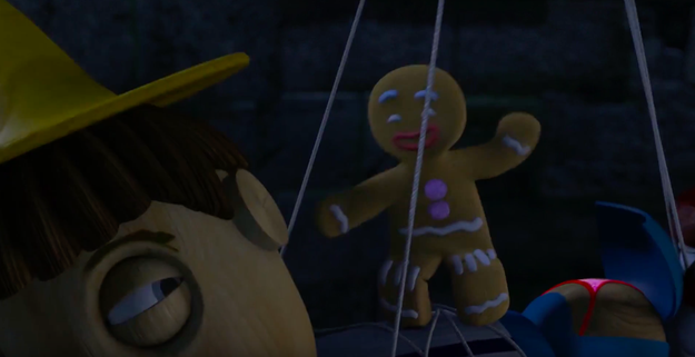 In Shrek 2, when Pinnochio is wearing a thong...