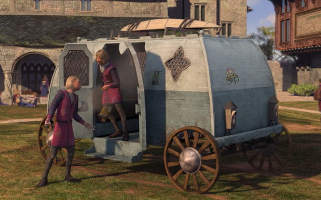 And finally, when a group of students roll up in the medieval equivalent of a Volkswagen bus.