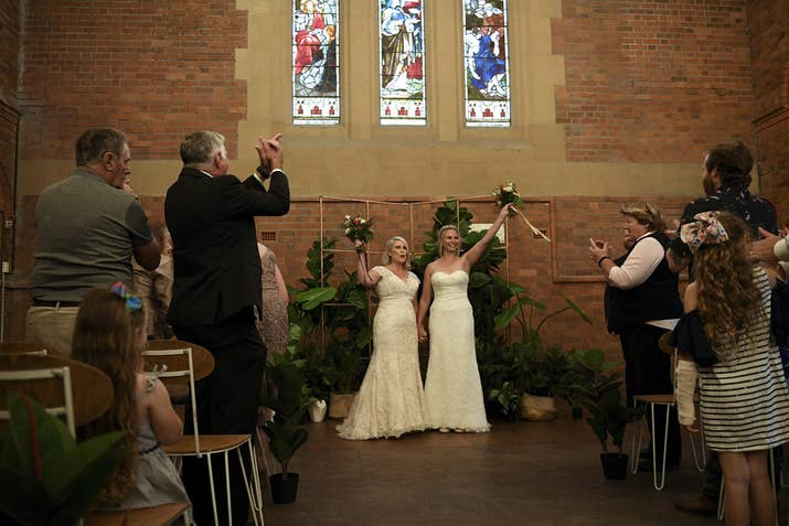 Rebecca Hickson and Sarah Turnbull got married in Newcastle on Tuesday.