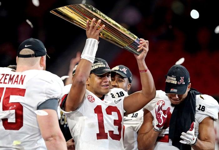 Alabama quarterback Tua Tagovailoa celebrates Monday.