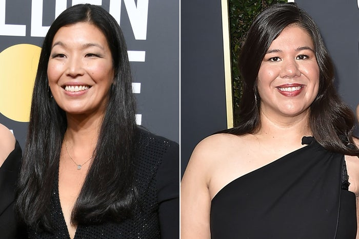 Ai-jen Poo and Mónica Ramírez at the Golden Globe Awards.
