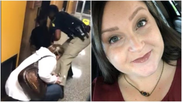 A middle school teacher was handcuffed after she questioned the superintendent's pay raise during a school board meeting in Louisiana on Monday night.