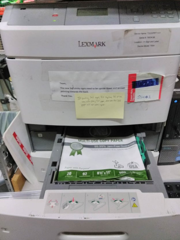 Or whichever employee filled this printer: