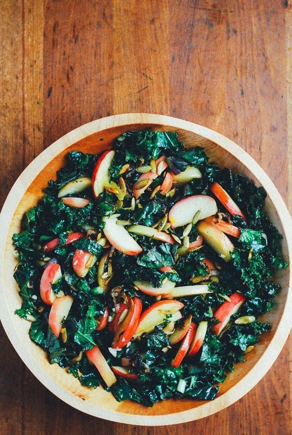 Kale Salad With Sauteed Apples