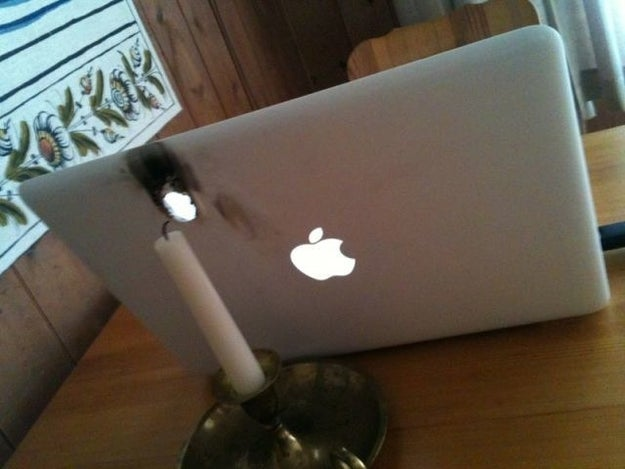 This probably wasn't a smart place to put that candle: