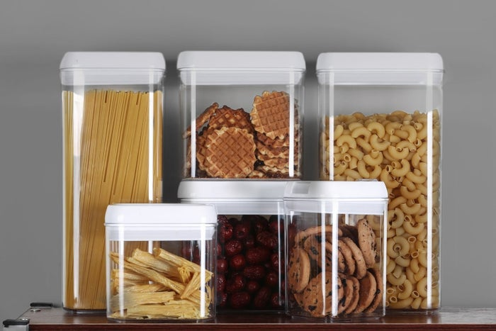 """Promising review: """"These things feed my overbearing need for everything to match and be out of the way. So glad to get rid of boxes and bags. The variety of sizes allowed me to store just about every dry good or baking essential in my cabinet. I might buy another set of these."""" —Erin Looney Get the set of 10 from Amazon for $64.99."""
