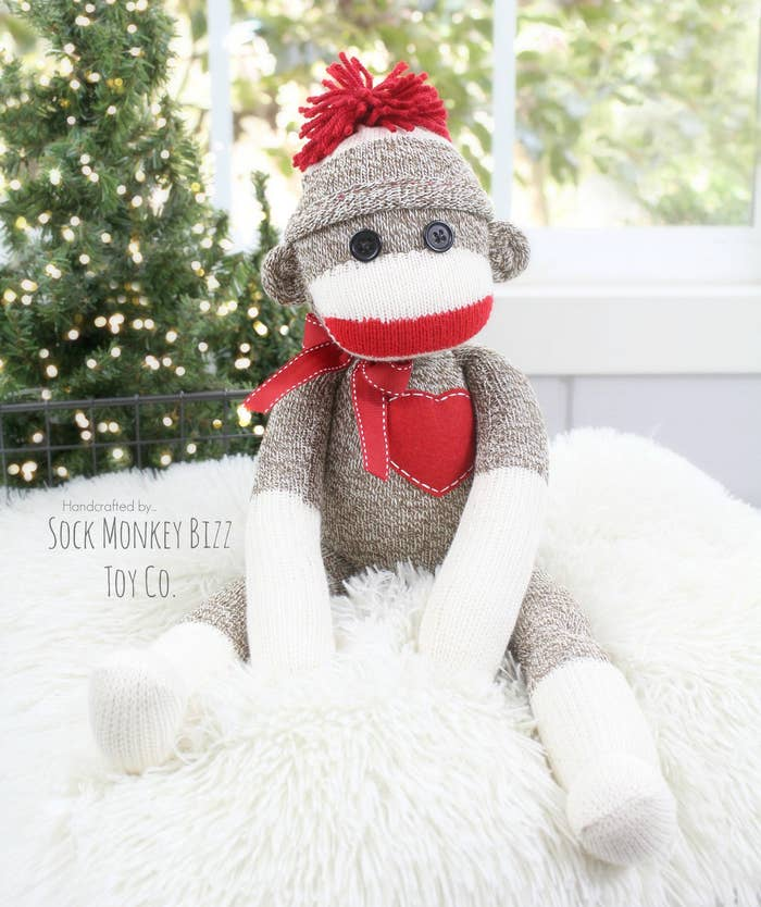 It comes with a heart, letter, or a custom name on a heart. Get it from SockMonkeyBizzToyCo on Etsy for $45+ (available in eight hat colors).