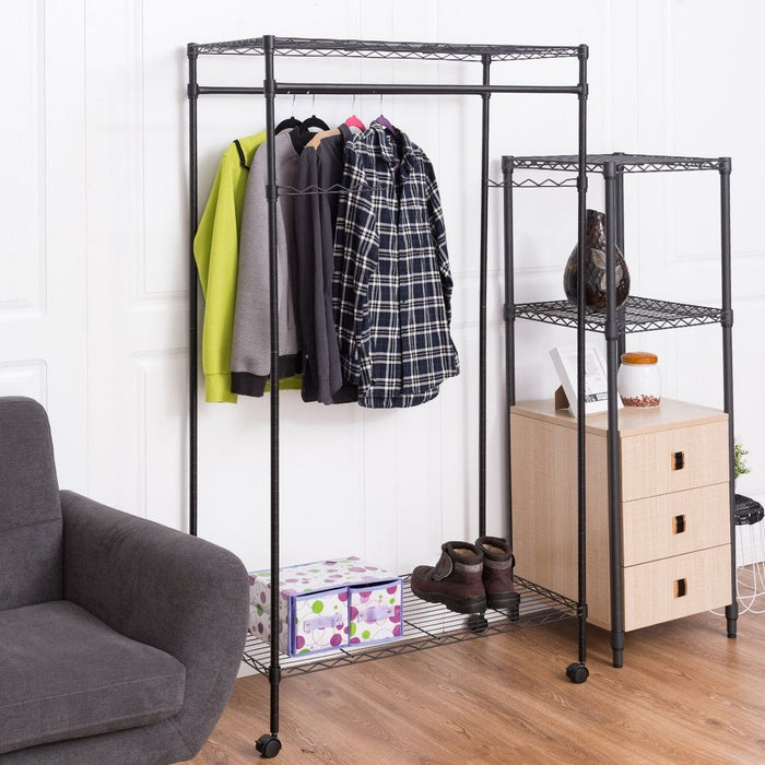 Use the top and bottom shelves for accessories! It has two adjustable swinging hanger bars to make space for longer clothes. It also features wheels for mobility (that can lock for security).Price: $43.99
