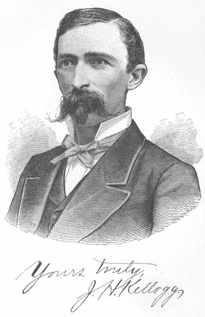 Cette belle moustache est celle de J.H. Kellogg, docteur en médecine et auteur de Plain Facts for Old and Young, publié en 1881 aux États-Unis. C'est un guide pour les garçons et les filles concernant la puberté, le sexe, et la sexualité.