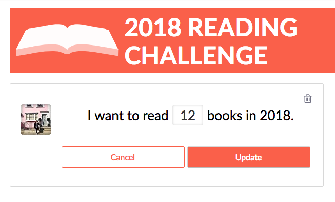 Goodreads has a feature where you can pledge how many books you plan to read in 2018, and it might get intimidating if you see your friends plan on reading 50 or 60 books this year. If you are easing into reading more, start by setting it at 12 books, which works out to one book a month. If you find yourself reading at a faster rate, you can always adjust it! Another way to track the books you've read is to create a page in your bullet journal like this one.