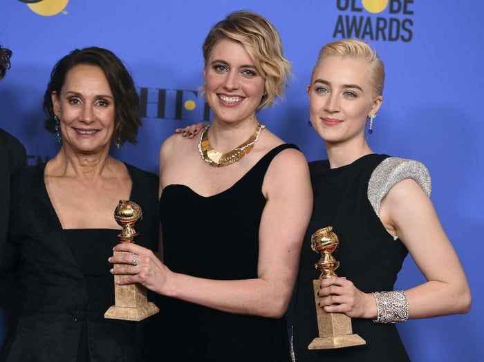 From left: Laurie Metcalf, Greta Gerwig, and Saoirse Ronan at the Golden Globes on Jan. 7, 2018.