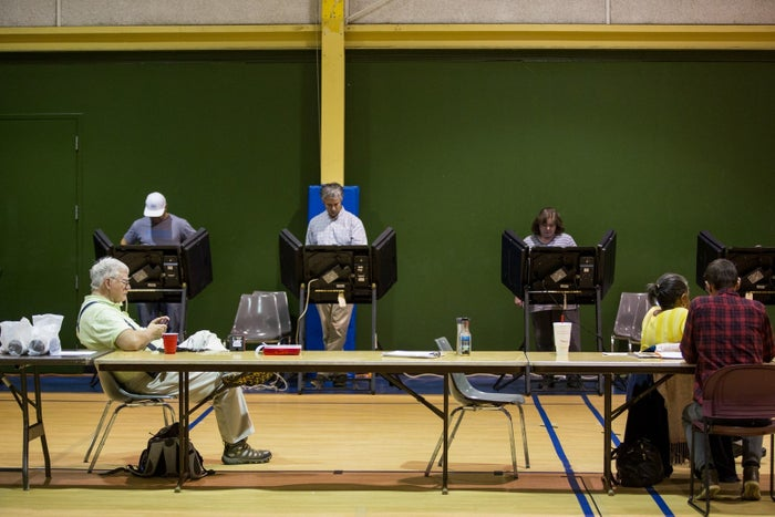 Voters cast their ballots inside the Hawthorne Recreation Center near uptown Charlotte, North Carolina.