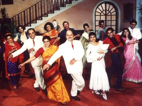 A still from Hum Aapke Hain Koun, a high-grossing 1994 Bollywood film that tells the story of large Indian joint families grappling with their values.