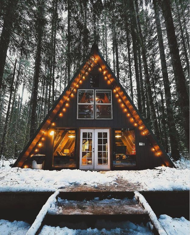 And finally, for another gorgeous A-frame cabin option, there's the Tye Haus in Washington state, for $170/night.