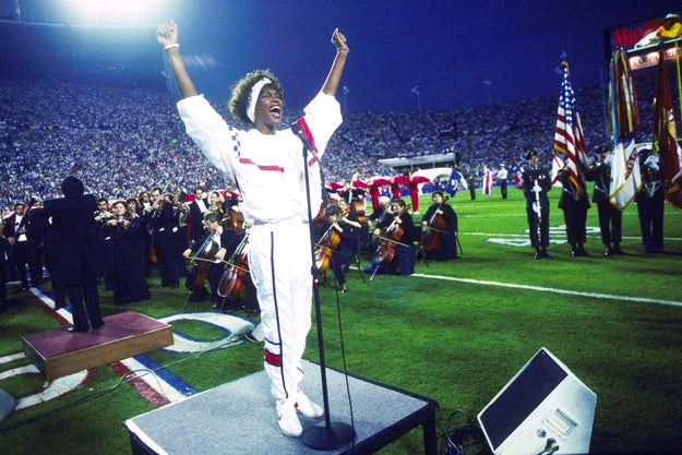 Jan. 27, 1991 — Whitney Houston at Super Bowl XXV in Tampa, Florida