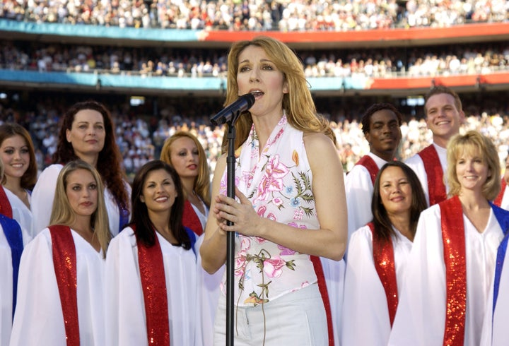 Jan. 26, 2003 — Celine Dion at Super Bowl XXXVII in San Diego