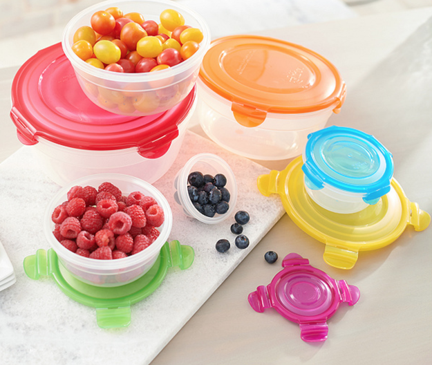 "A six-piece set of bowls with an ""Easy Match"" color-coded system to keep track of corresponding lids."
